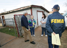 FEMA community relations officers talk to Oklahoma citizens affected by the recent wildfires: disaster assistance for victims of the fires has now reached $2.9 million