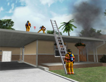 A screen shot from FLAME-SIM's firefighter training software: users of the software will be available to discuss its benefits at FRI in Dallas, TX in August