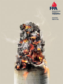 An image from FPA Australia's new fire safety advertising campaign, provided free of charge by creative agency, The 303 Group
