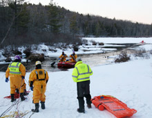 Water/ice incident rescue training taking place: it is the responsibility of fire and rescue departments to train their personnel effectively