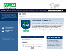 A screenshot of MSA U - MSA's new online firefighter training facility
