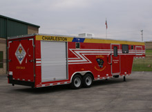 The 32 foot hazmat trailer from Mobile Concepts by SCOTTY, recently delivered to the Charleston Air Force Base