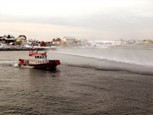 One of Unifire's anti-pirate water cannons, the Force 80, in action