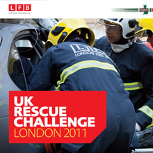London Fire Brigade's fire crews attending a road traffic incident to provide emergency first aid
