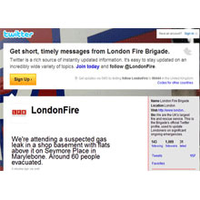 London Fire Brigade logo, LFB adopts twitter to highlight firefighter call out time consumption