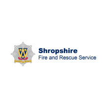 Shropshire Fire and Rescue Service logo, the service works to prevent and treat fire in Shropshire