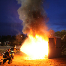 The fire knockdown tests demonstrated that TetraKO yielded a significant advantage over water and foam