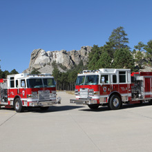 The department's Pierce fleet includes six front line engines, one reserve engine, one aerial and five wildland brush trucks