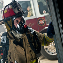Avon's Deltair SCBA offers superior air management, single-power supply, clearer communications and optimal weight distribution for firefighters and other first responders