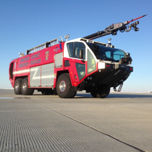 The new Striker ARFF vehicle joins a fleet of Oshkosh Airport Products snow removal equipment already at the airport