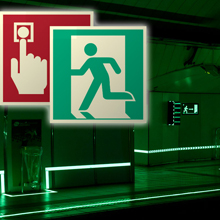 Vimpex's Implaser line is the ideal safety signage in areas such as public buildings, tunnels and escape ways