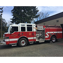 The pair of identical Pierce Velocity pumpers each feature a big block DD13 500 HP engine, TAK-4 independent front suspension, Command Zone advance electronics, and side roll and front impact protection systems