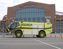 One of KME's new FORCE series of airport firefighting trucks outside the Lucas Oil Stadium, where it was displayed during FDIC this year