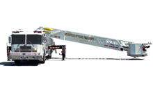 KME displayed their new flagship aerial truck, a 102' Rearmount AerialCat with enhanced maneuverability, at FDIC