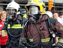 Firefighters taking part in the eleventh annual Barcelona Cursa de Bombers (Firefighters Race) which covered 10 km through the city centre