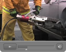 A still from the video introduction to Champion Rescue Tools' new vehicle extrication training DVD, which will be launched at Fire Rescue International 2009 in Dallas