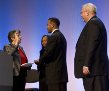The new U.S. Fire Administrator, Kelvin Cochran is officially sworn in by DHS Secretary Janet Napolitano