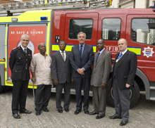 Left to right: Ron Dobson (London Fire Commissioner), Tim Ayub, Alexander Frimpong (Chief Treasury Officer for the Ghana High Commission), Lou Gill, (Director of Business Development, AssetCo), former London Fire Brigade employee Isaac Donkor and Cllr Brian Coleman AM FRSA, Chairman of the London Fire and Emergency Planning Authority