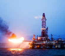 A flare on an offshore oil rig: a new report compiled by USFA addresses fire department operations in maritime areas