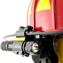 The SideSlide is a side mounted helmet light designed specifically for use by firefighters, rescue personnel and industrial safety professionals