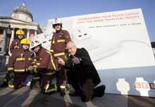 A group of London firefighters were joined by Eastenders star, Cliff Parisi, who is the Brigade's celebrity supporter, to reveal a giant smoking plug socket in Trafalgar Square