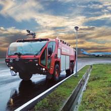 The three new generation Oshkosh Striker ARFF vehicles join two Striker 3000 vehicles