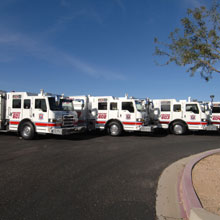 Pierce's four Impel pumpers chosen as the apparatus by the Scottsdale Fire Department in Scottsdale, Arizona
