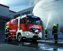 One of ROSENBAUER's recent deliveries: a rescue pumper for the Imst voluntary fire service in Tyrol, Austria