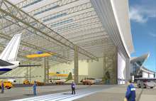 Dubai's Royal Airwing Hangar, which is home to the Dubai ruling family's private aircraft, is 600 metres wide and 110 metres deep, holding aircraft of an industry value which may exceed £2 billion