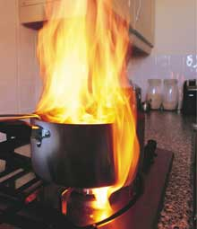 Fire caused by unattended cooking
