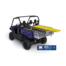Kimtek's MEDLITE Transport skid unit can be installed in the Yamaha Viking cargo bed in just minutes