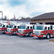 Pierce 105-foot heavy-duty ladder is built on a Velocity chassis and features TAK-4 independent front suspension