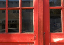 A worn fire station door: nine fire stations across London are to be completely rebuilt, following government approval of the project