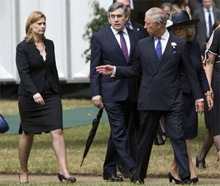 Sarah Brown, Prime Minister Gordon Brown and Prince Charles attend a ceremony unveiling the memorial to victims of the 7/7 terrorist attacks in London