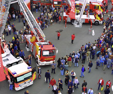 The crowd of visitors and exhibitors at INTERSCHUTZ 2005