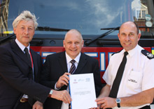 Left to right: Phil Smith, Strategic Estates Advisor NHS London, the Department of Health's Policy Lead on Fire Safety, Paul Roberts, and London Fire Brigade Assistant Commissioner Steve Turek, with the concordat.