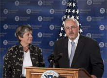 US DHS Secretary Janet Napolitano and FEMA Administrator Craig Fugate announce nearly $1.8 billion in FEMA preparedness grants to help the US improve its readiness for disasters