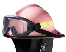 One of the pink helmets produced by Lion Apparel, which firefighters can wear to show their support for National Breast Cancer Awareness month in October this year