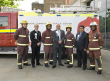 London Fire Brigade has launched its new fire safety campaign, 'Keep Your Community Safe and Sound.' Seen here are London firefighters with EastEnders actor Cliff Parisi, London Fire Commissioner Ron Dobson, and Vice Chair of London Fire and Emergency Planning Authority Cllr Liaquat Ali