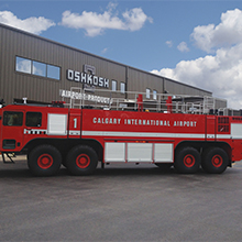 The firefighting system includes an Oshkosh roof turret with dual flow rates rated at 625 / 1250 gpm (2366 / 4732 lpm)