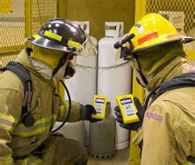 Firefighters using GasTrainer, the new gas meter training facility to be launched by BullEx Digital Safety at FDIC 2009 in Indianapolis