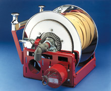 Hannay Reel's F-Series hose reel with hose - one of many products they will be exhibiting at FDIC 2009 this April
