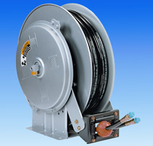 An N600 Series reel, used for a variety of applications requiring dual hose for different materials