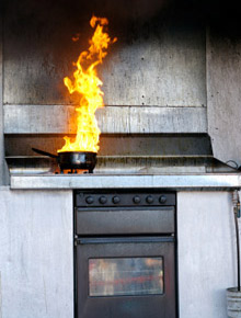 A pan fire: one of the common fire hazards in the home Domino's Pizza, in association with the NFPA, are hoping to educate their customers about with fire safety messages on their pizza boxes