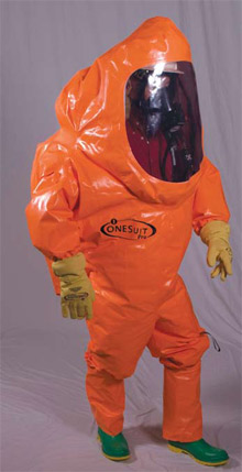 The new single-skin ONESuit Pro hazmat suit from Saint-Gobain Performance Plastics, certified to the National Fire Protection Association (NFPA) 1991 standard