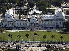 The Haitian National Palace located in Haiti, heavily damaged after the earthquake of January 12, 2010