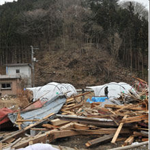 A British firefighter is currently distributing aid within one of the areas hardest hit by the tsunami in Japan