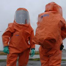Draeger's new chemical protection suit, for use in fire & rescue as well as industry situations