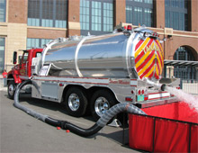 The Water Master Vacuum Tanker outside the Lucas Oil Stadium during FDIC 2009 - E-ONE have acquired this product line from Southern Fire Equipment, LLC