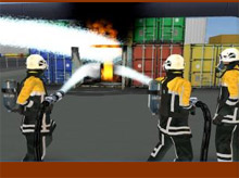 A screenshot from the virtual reality training tool EVR - recently chosen by Severn Park Fire & Rescue Training Centre, and exhibited at Fire & Rescue 2009